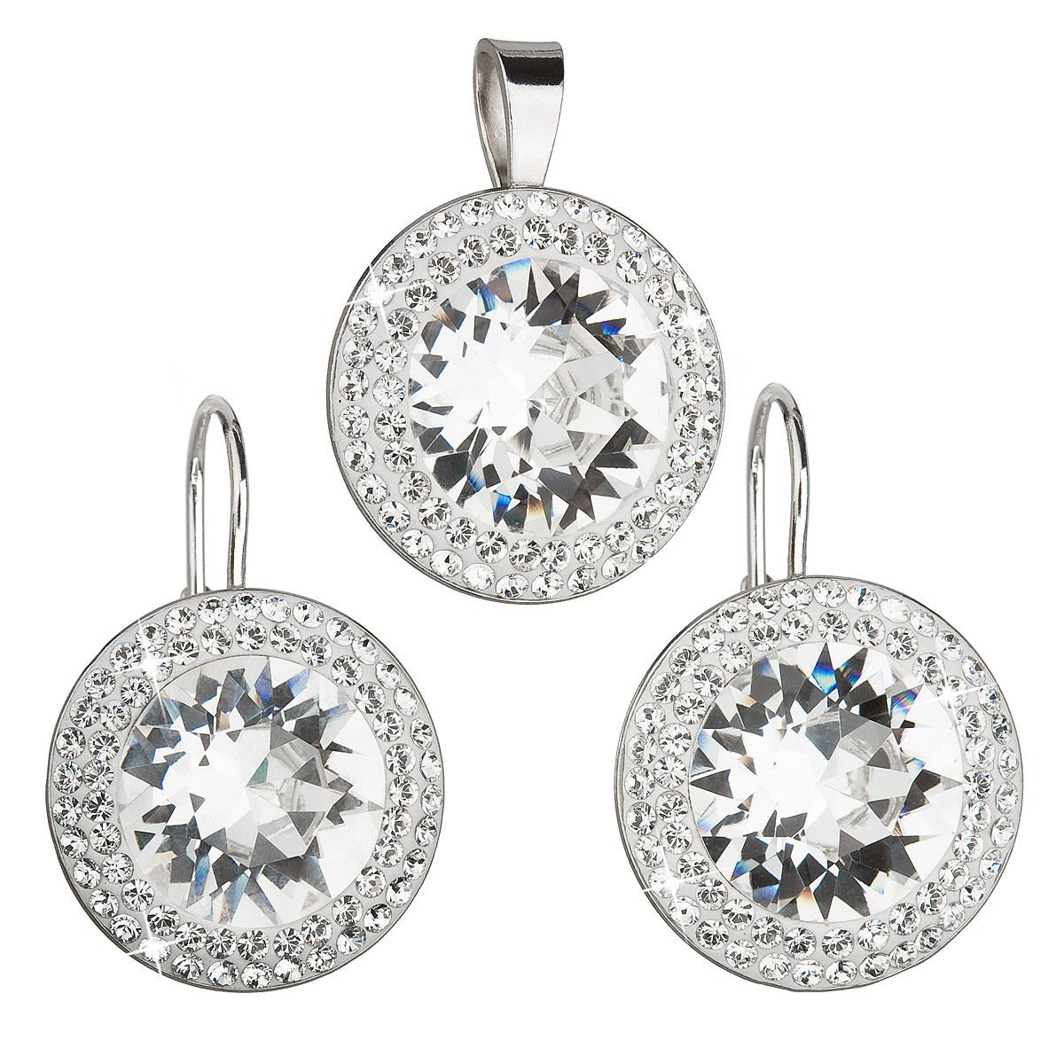Sada šperkov s krištáľmi Swarovski náušnice a prívesok biele okrúhle 39108.1