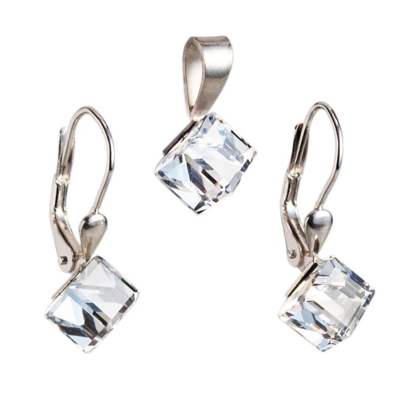 Sada šperkov s krištáľmi Swarovski náušnice a prívesok biela kocka 39068.1