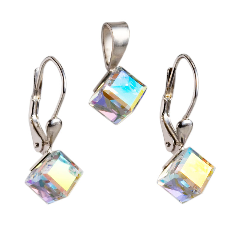 Sada šperkov s krištáľmi Swarovski náušnice a prívesok AB efekt biela kocka 39068.2