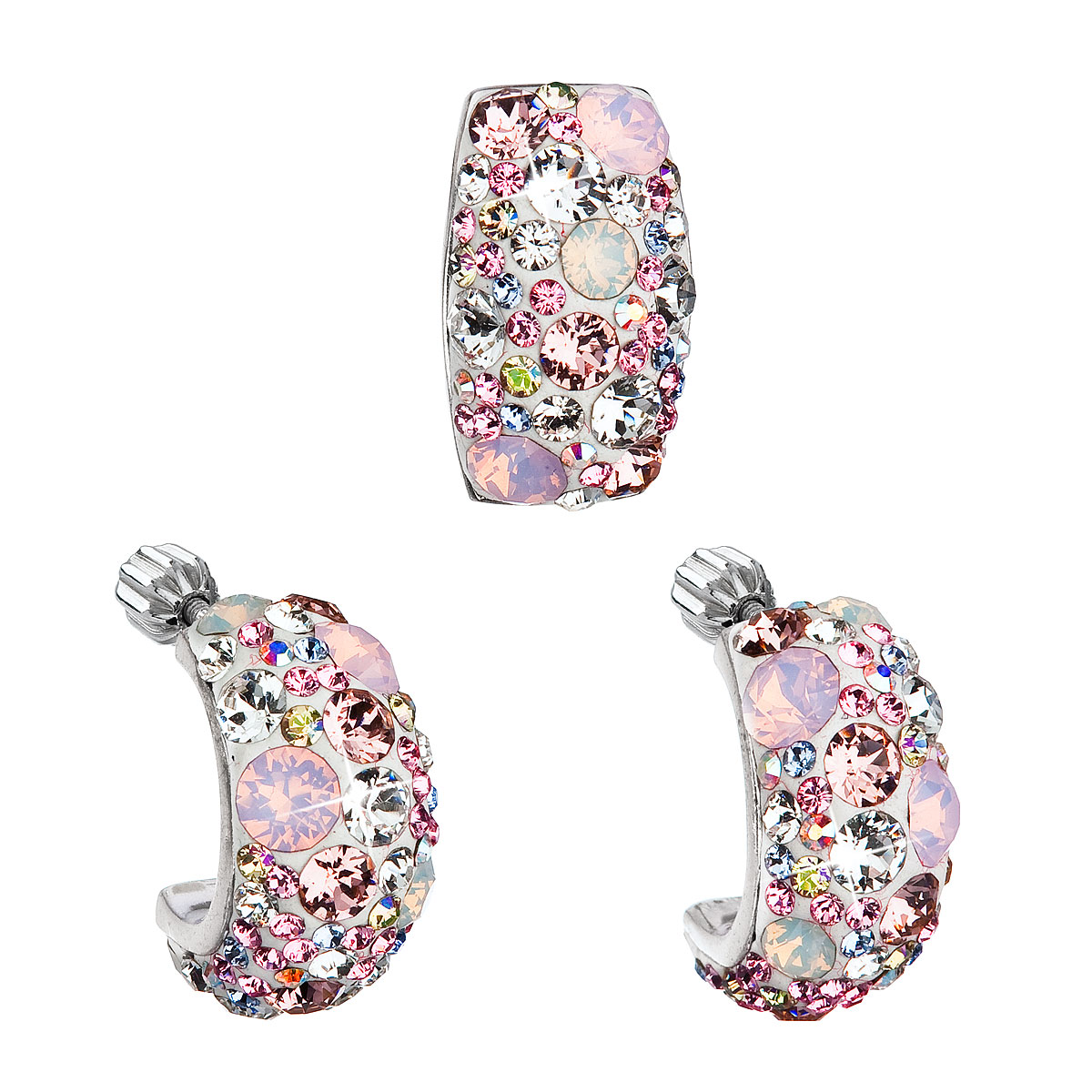 Sada šperkov s krištáľmi Swarovski náušnice a prívesok ružový obdĺžnik 39116.3