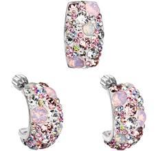 ca7c77813 Sada šperkov s krištáľmi Swarovski náušnice a prívesok ružový obdĺžnik  39116.3