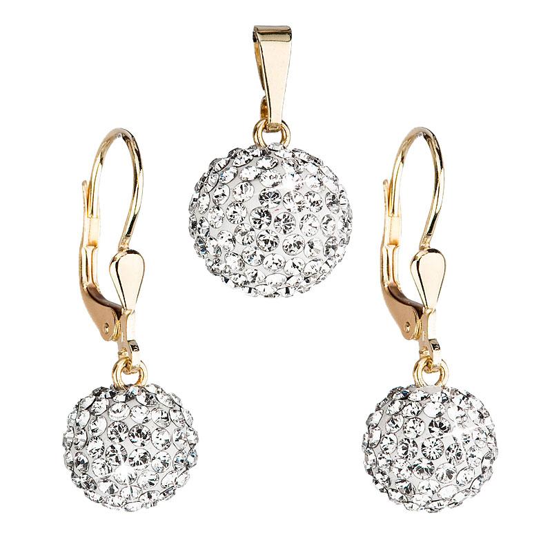 Zlatá 14 karátová sada šperkov s krištáľmi Swarovski náušnice a prívesok biela 939072.1