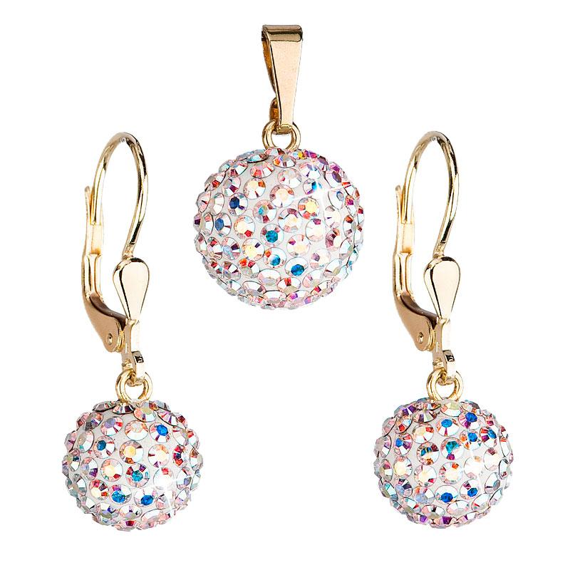 Zlatá 14 karátová sada šperkov s krištáľmi Swarovski náušnice a prívesok AB efekt 939072.2