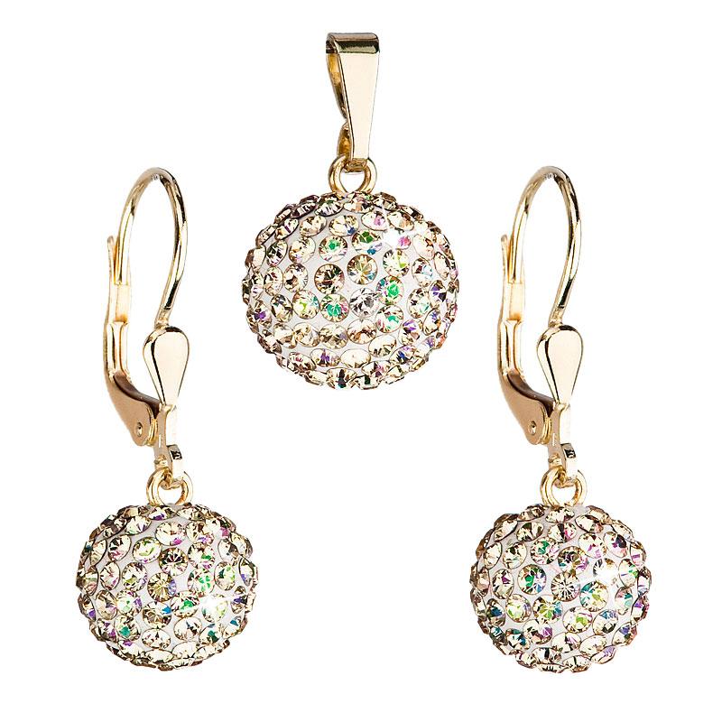 Zlatá 14 karátová sada šperkov s krištáľmi Swarovski náušnice a prívesok zeleno-zlatá 939072.6