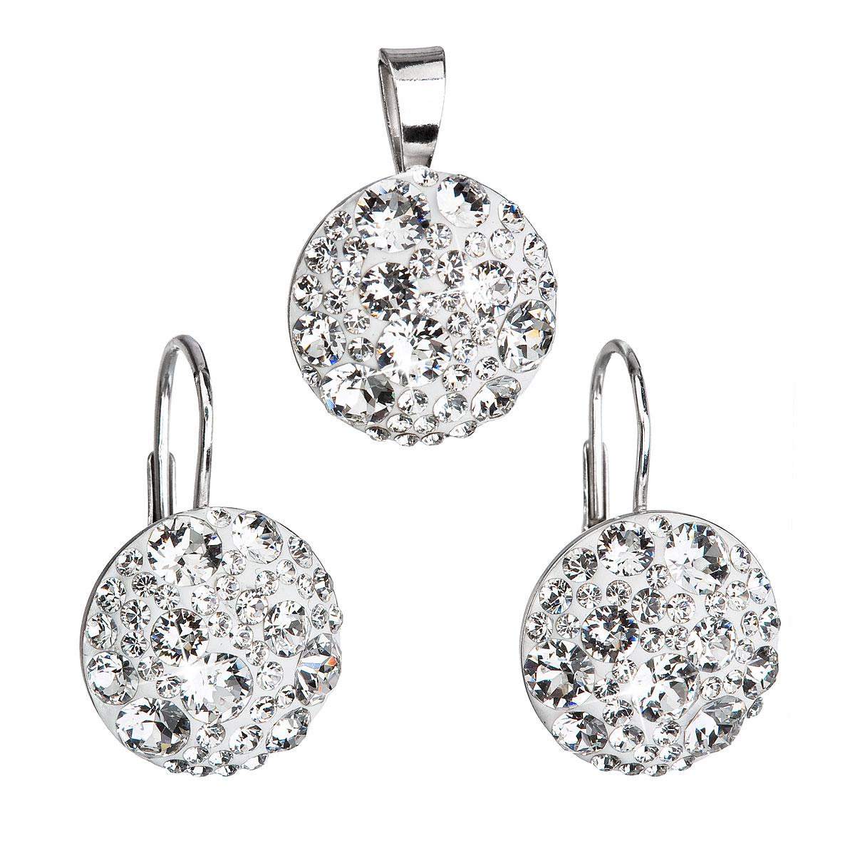 Sada šperkov s krištáľmi Swarovski náušnice a prívesok biele okrúhle 39117.1