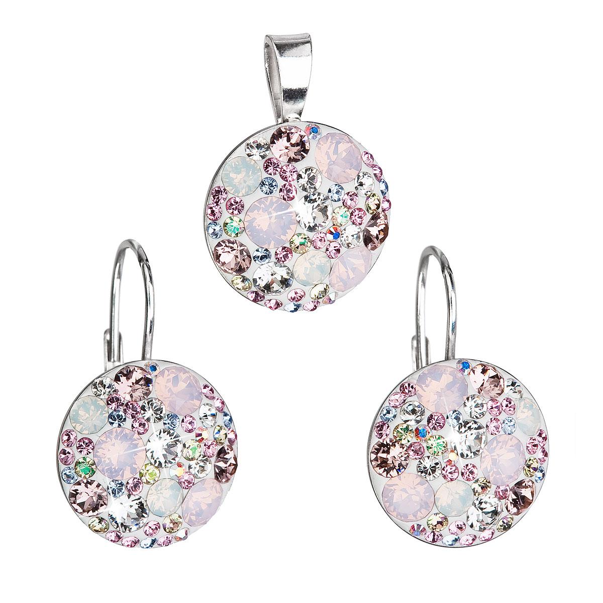 Sada šperkov s krištáľmi Swarovski náušnice a prívesok ružové okrúhle 39117.3