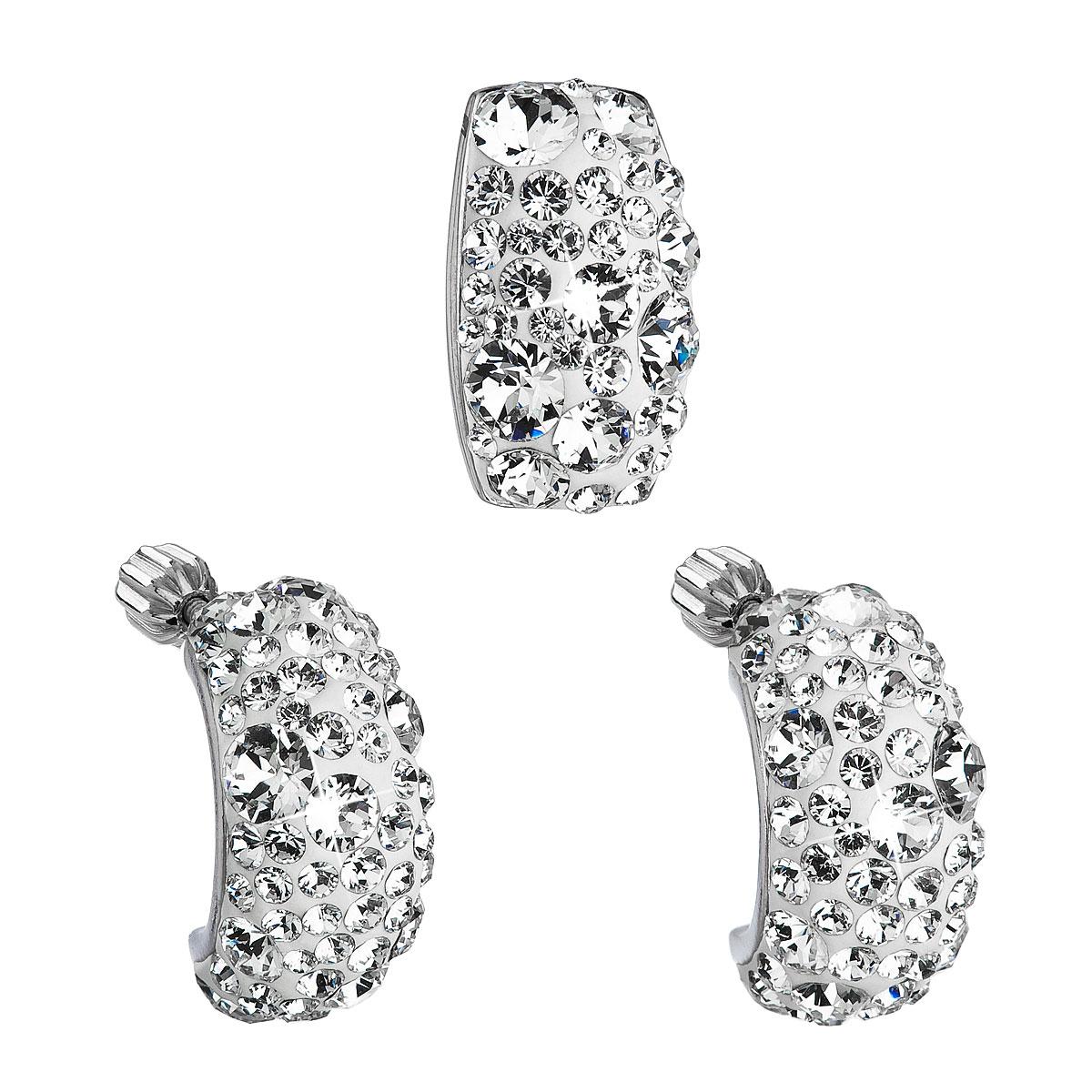 Sada šperkov s krištáľmi Swarovski náušnice a prívesok biely obdĺžnik 39116.1
