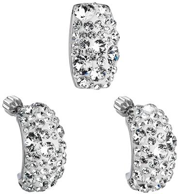 Sada šperkov s krištáľmi Swarovski náušnice a prívesok biely obdĺžnik  39116.1 c680672c663