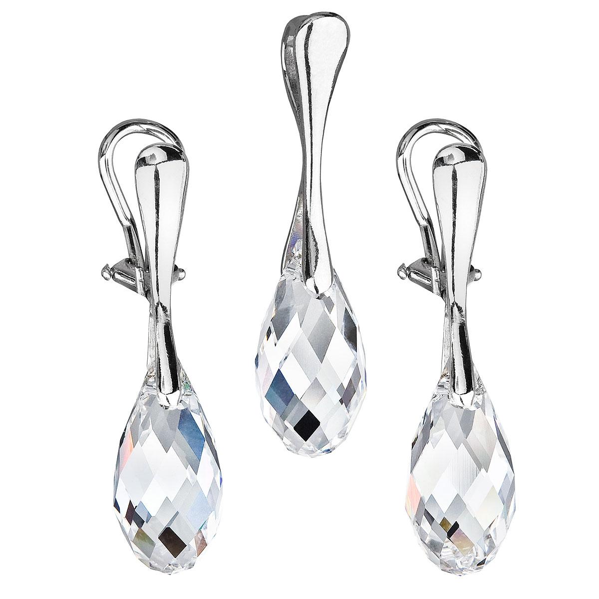 Sada šperkov s krištáľmi Swarovski náušnice a prívesok biela slza 39088.1