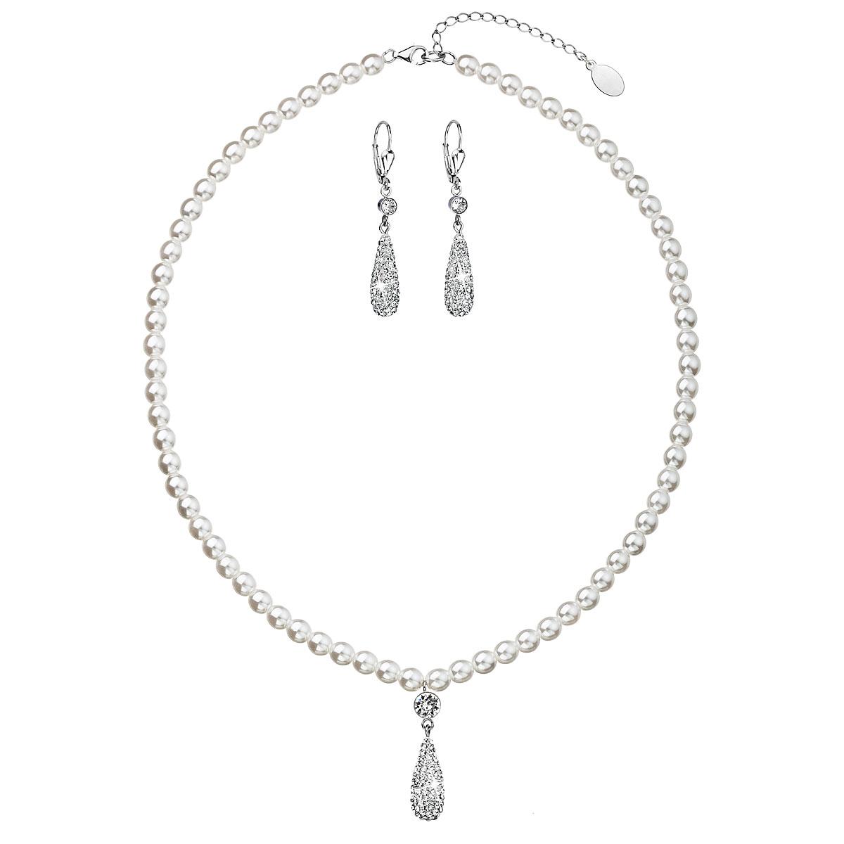 Sada šperkov s krištáľmi Swarovski náušnice a prívesok biele perly slza 39121.1
