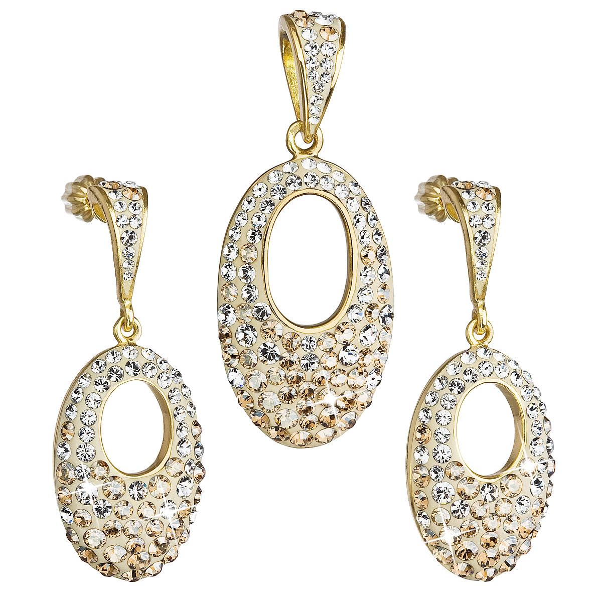 Sada šperkov s krištáľmi Swarovski náušnice a prívesok zlatý ovál 39075.6
