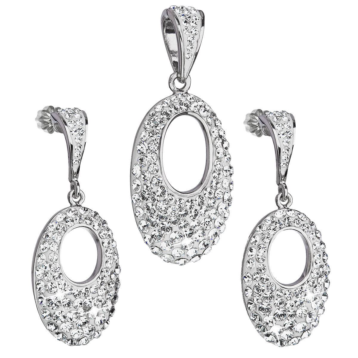 Sada šperkov s krištáľmi Swarovski náušnice a prívesok biely ovál 39075.1