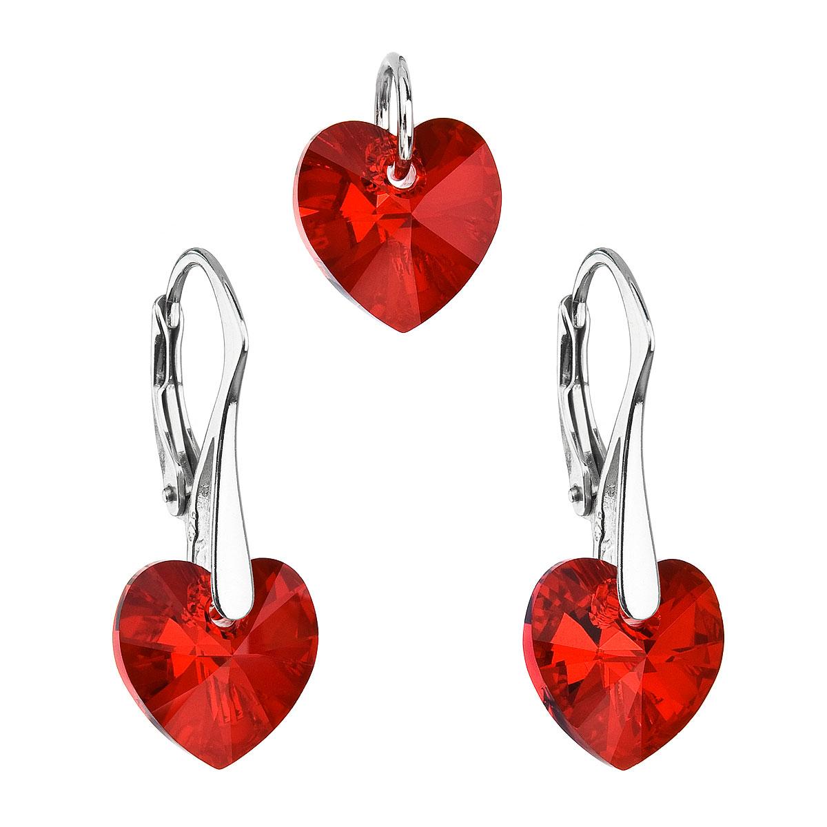 Sada šperkov s krištáľmi Swarovski náušnice a prívesok červené srdcia 39003.4