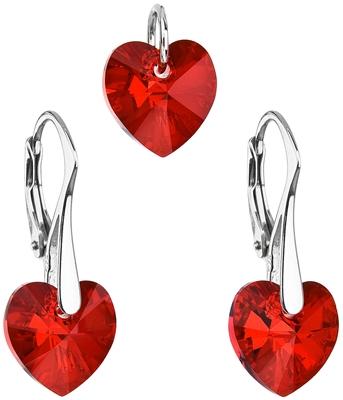 Sada šperkov s kryštálmi Swarovski náušnice a prívesok červené srdcia  39003.4 ab5df3ad726