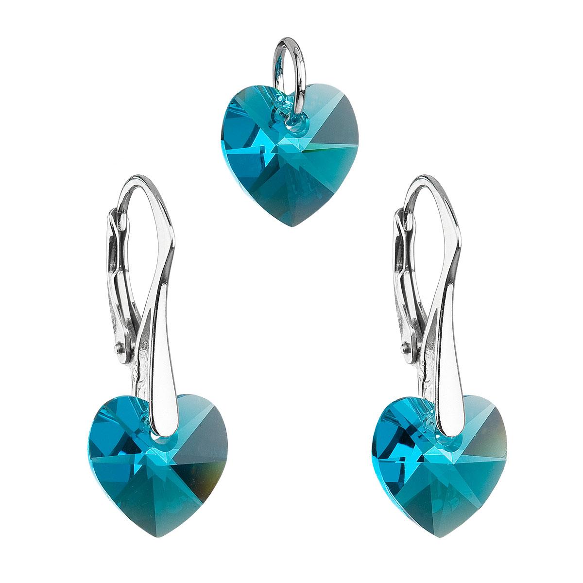 Sada šperkov s krištáľmi Swarovski náušnice a prívesok modré srdcia 39003.4