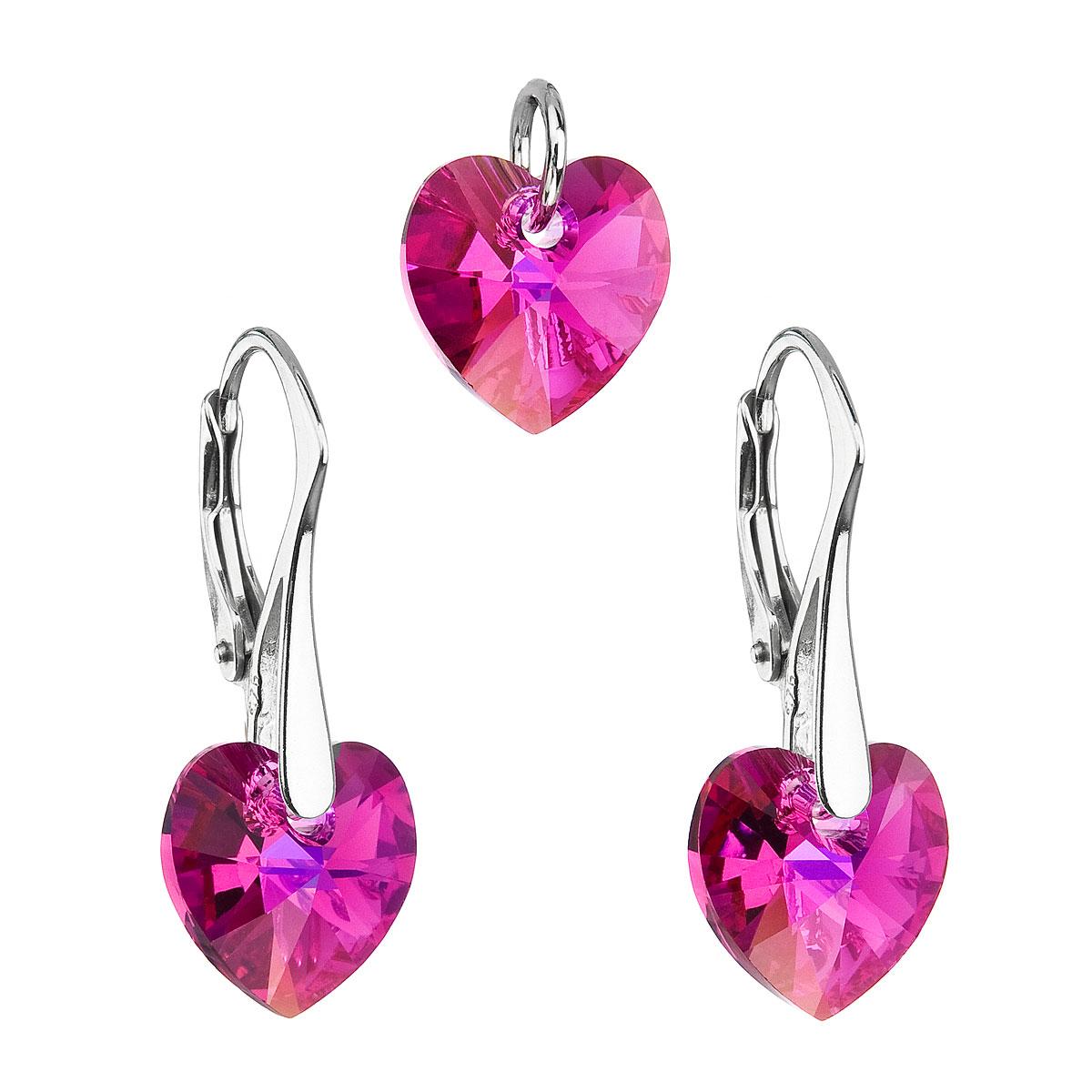 Sada šperkov s krištáľmi Swarovski náušnice a prívesok ružové srdcia 39003.4
