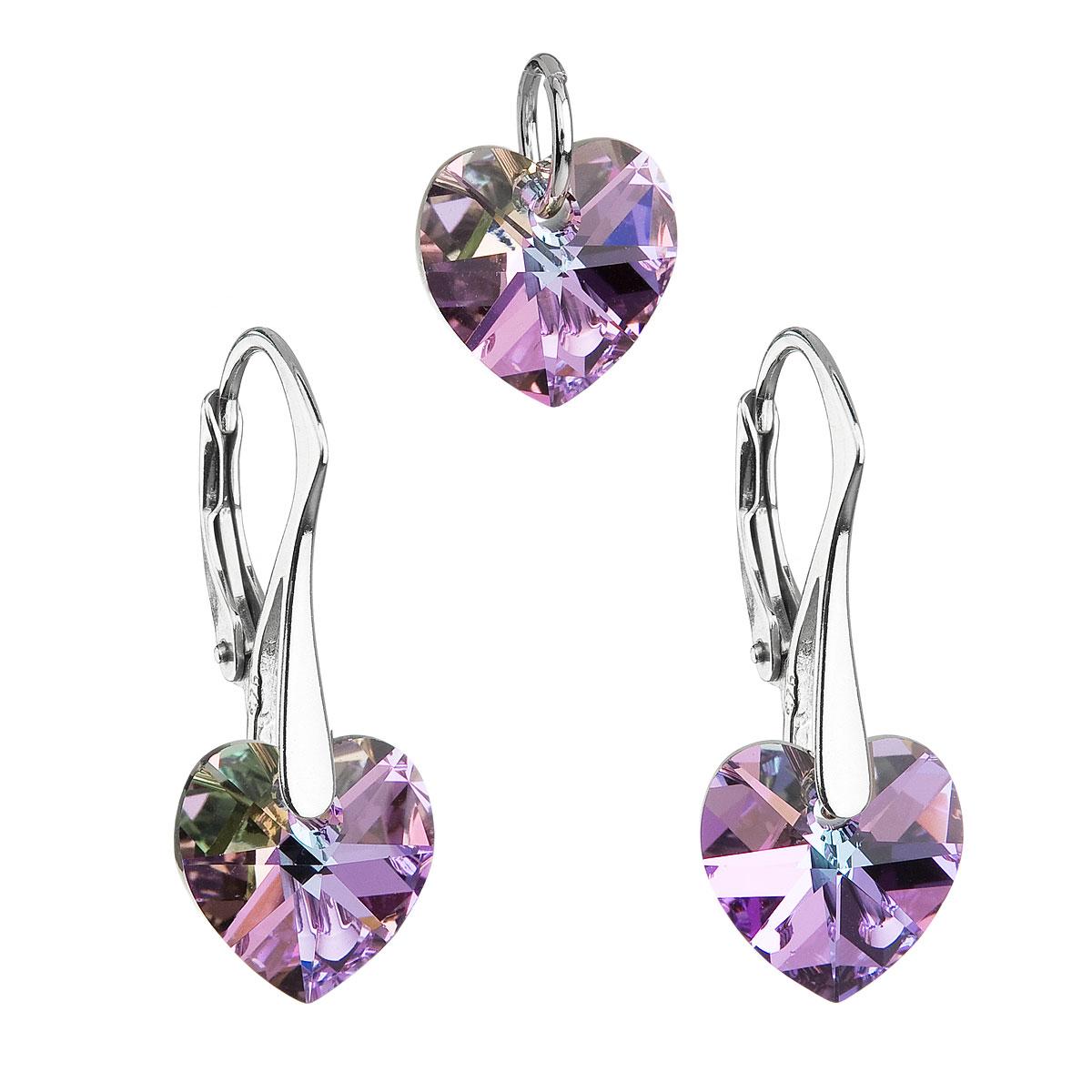 Sada šperkov s krištáľmi Swarovski náušnice a prívesok fialové srdcia 39003.5