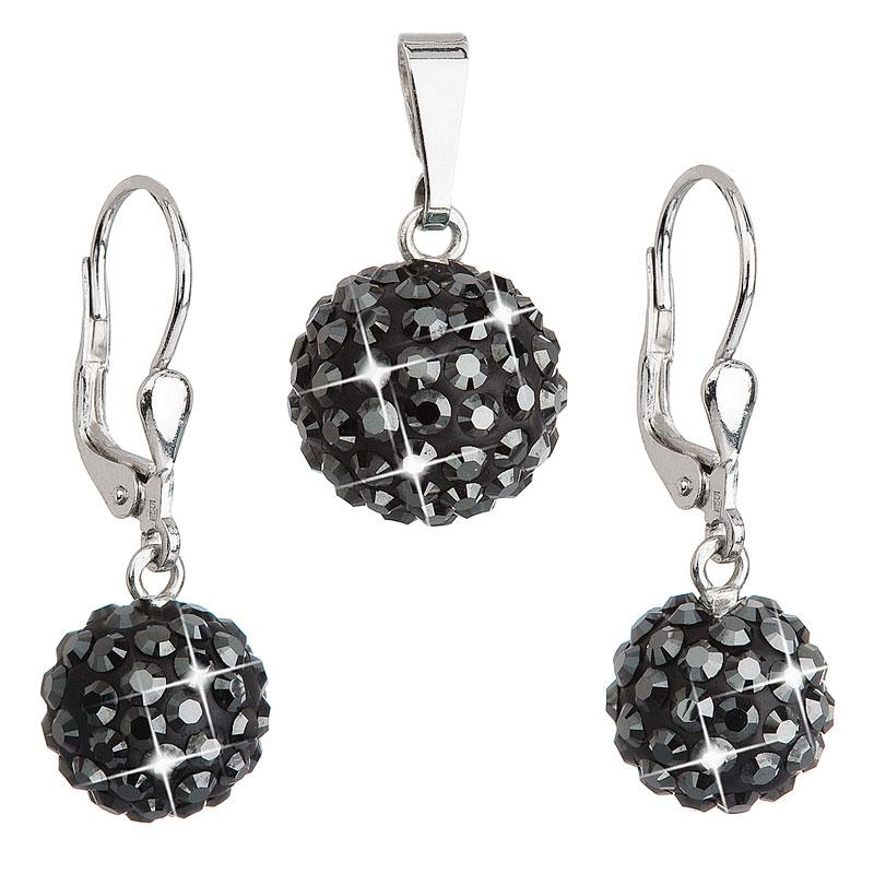 Sada šperkov s krištáľmi Swarovski náušnice a prívesok čierne okrúhle 39072.5