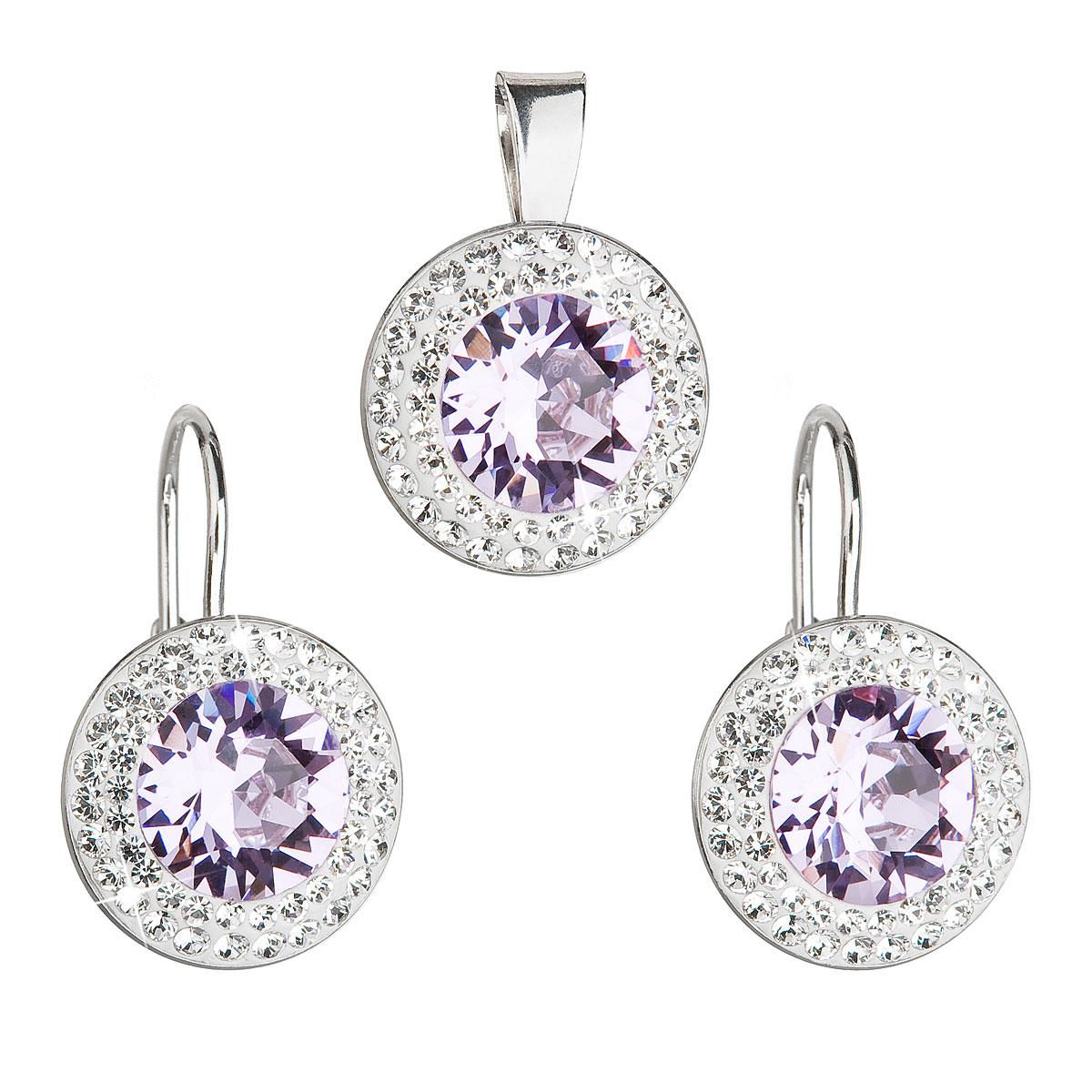 Sada šperkov s krištáľmi Swarovski náušnice a prívesok fialové okrúhle 39107.3