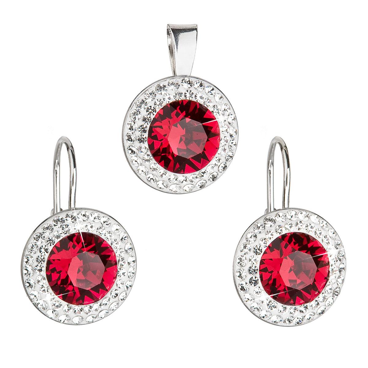 Sada šperkov s krištáľmi Swarovski náušnice a prívesok červené okrúhle 39107.3