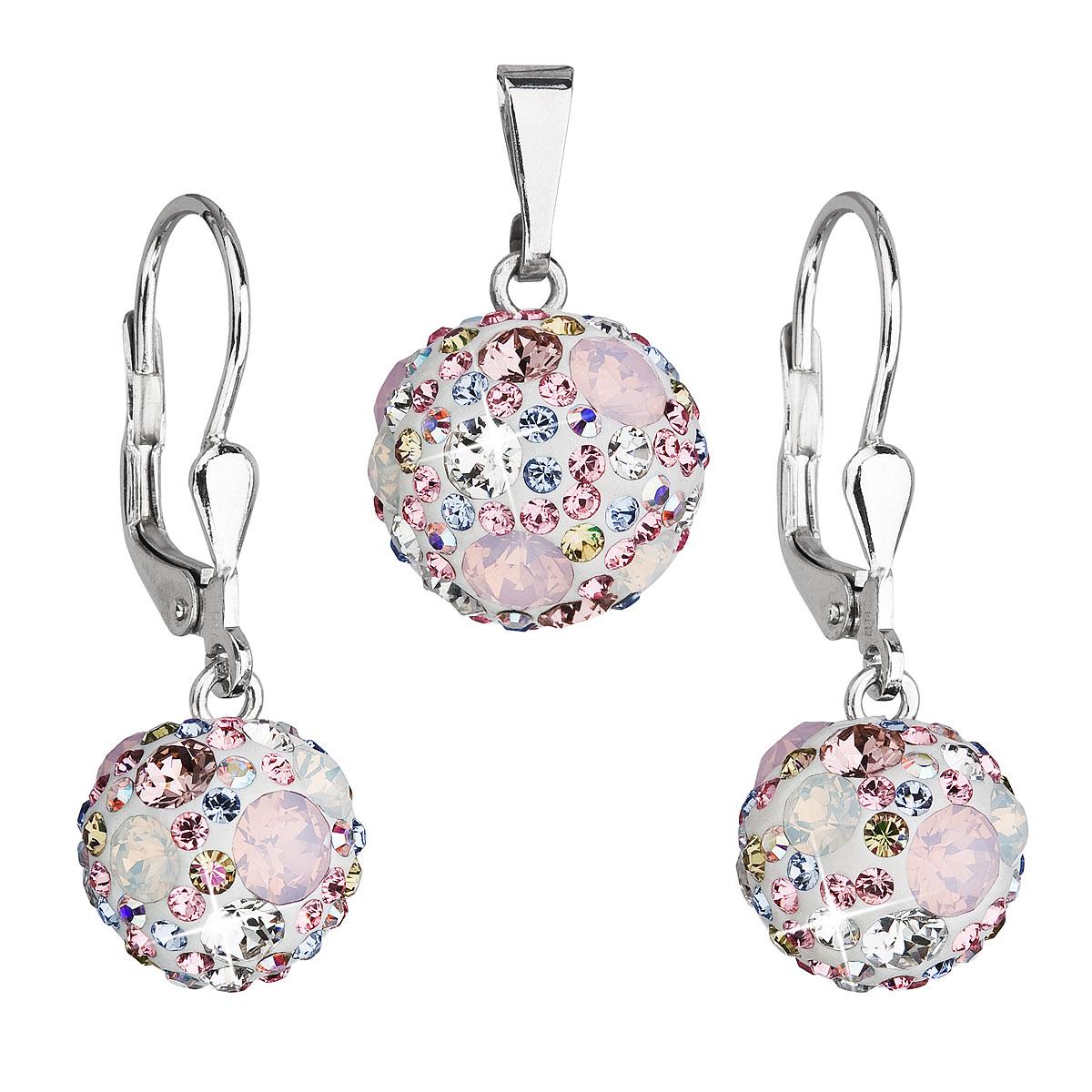 Sada šperkov s krištáľmi Swarovski náušnice a prívesok ružové okrúhle 39072.3
