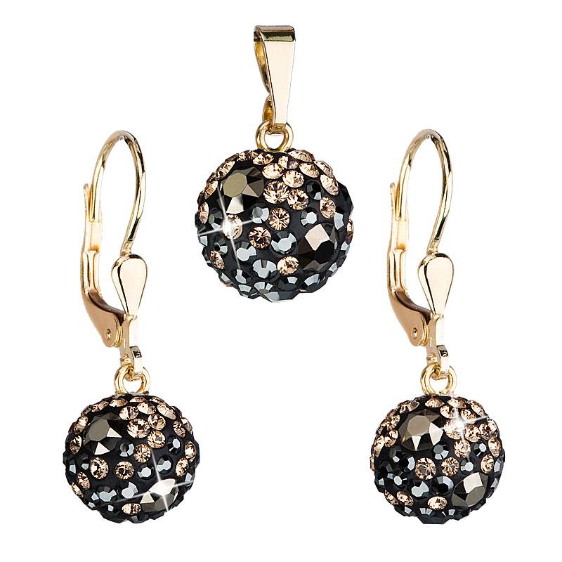 Zlatá 14 karátová sada šperkov s krištáľmi Swarovski náušnice a prívesok mix farieb 939072.4 colorado