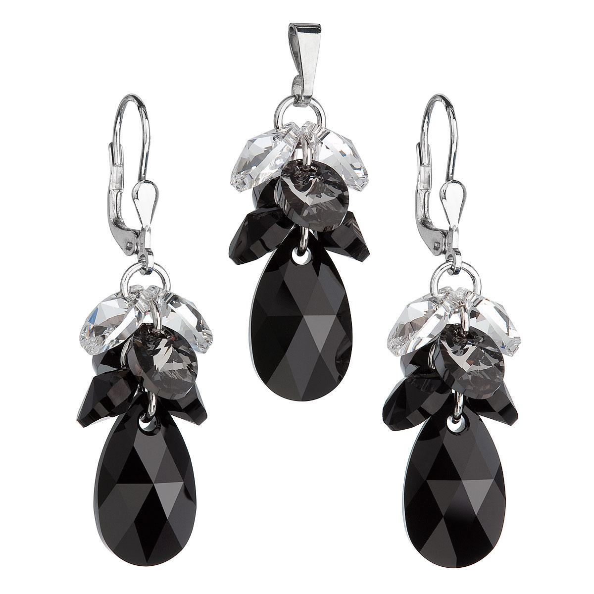 Sada šperkov s krištáľmi Swarovski náušnice a prívesok čierny hrozno 39123.3