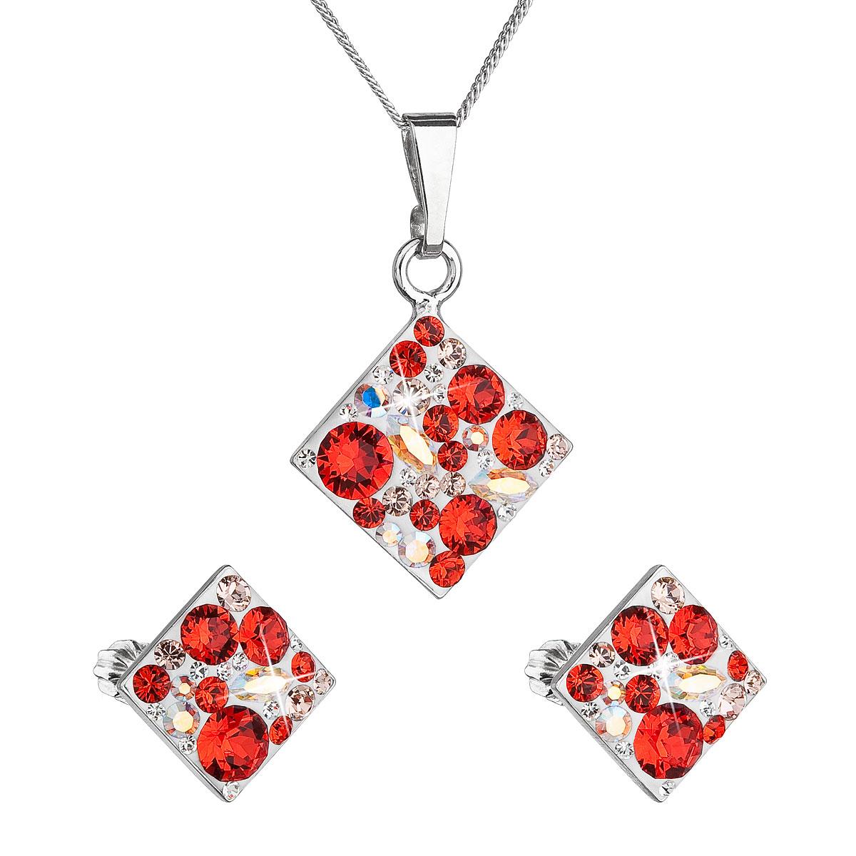 Sada šperkov s krištáľmi Swarovski náušnice, retiazka a prívesok červený kosoštvorec 39126.3