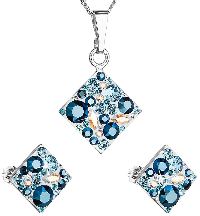 814edf835 Sada šperkov s krištáľmi Swarovski náušnice a prívesok modrý kosoštvorec  39126.3 aqua