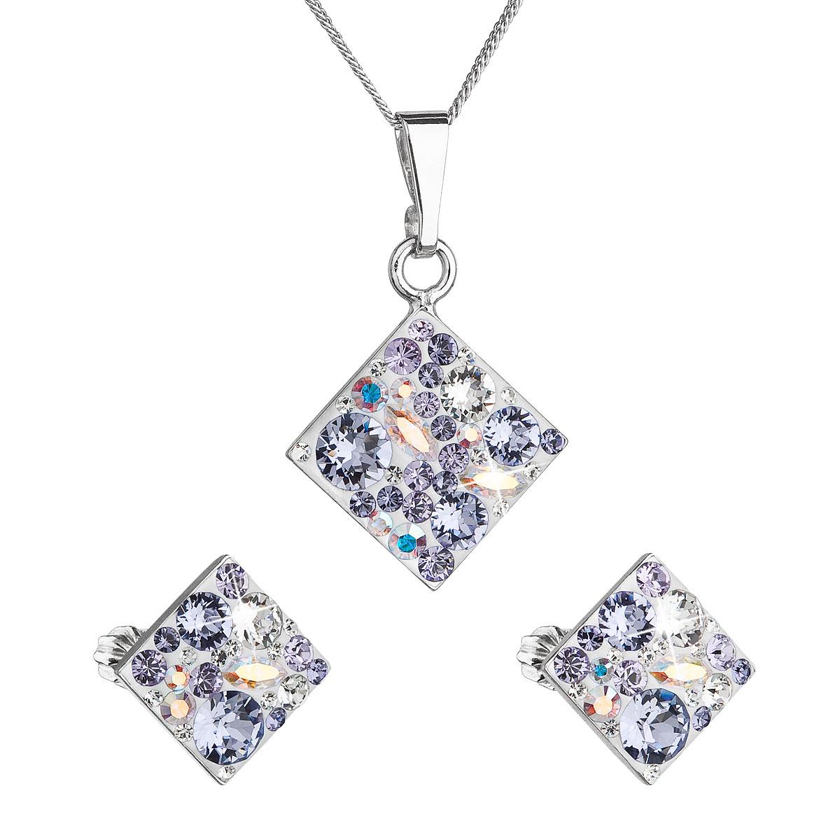 Sada šperkov s krištáľmi Swarovski náušnice, retiazka a prívesok fialový kosoštvorec39126.3 violet