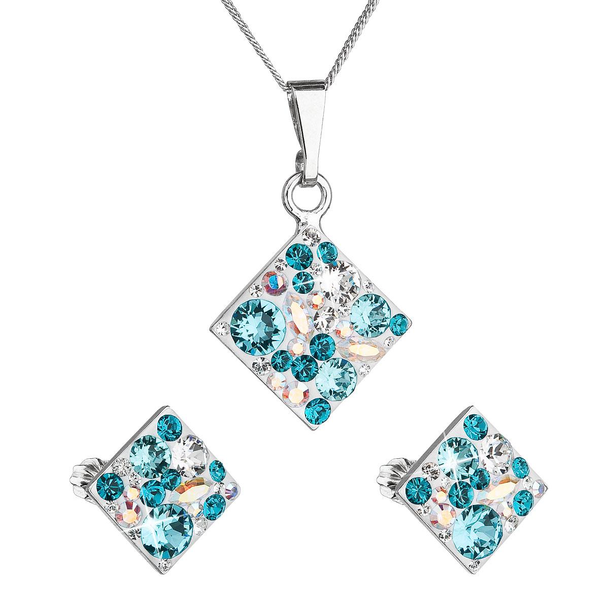 Sada šperkov s krištáľmi Swarovski náušnice, retiazka a prívesok modrý kosoštvorec39126.3 turquoise