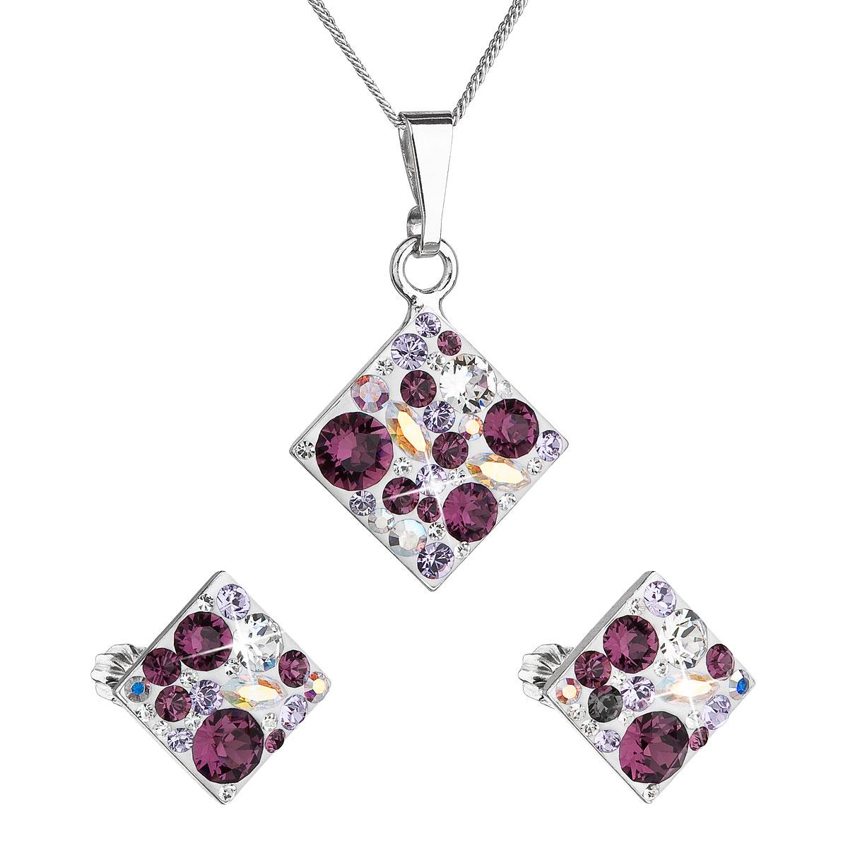 Sada šperkov s krištáľmi Swarovski náušnice, retiazka a prívesok fialový kosoštvorec 39126.3 amethyst