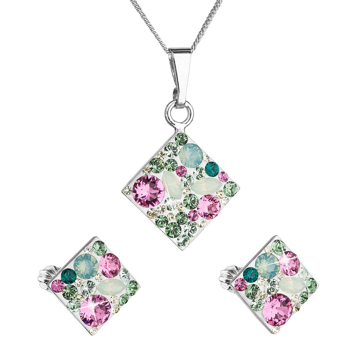 Sada šperkov s krištáľmi Swarovski náušnice, retiazka a prívesok zelený kosoštvorec 39126.3 chrysolite