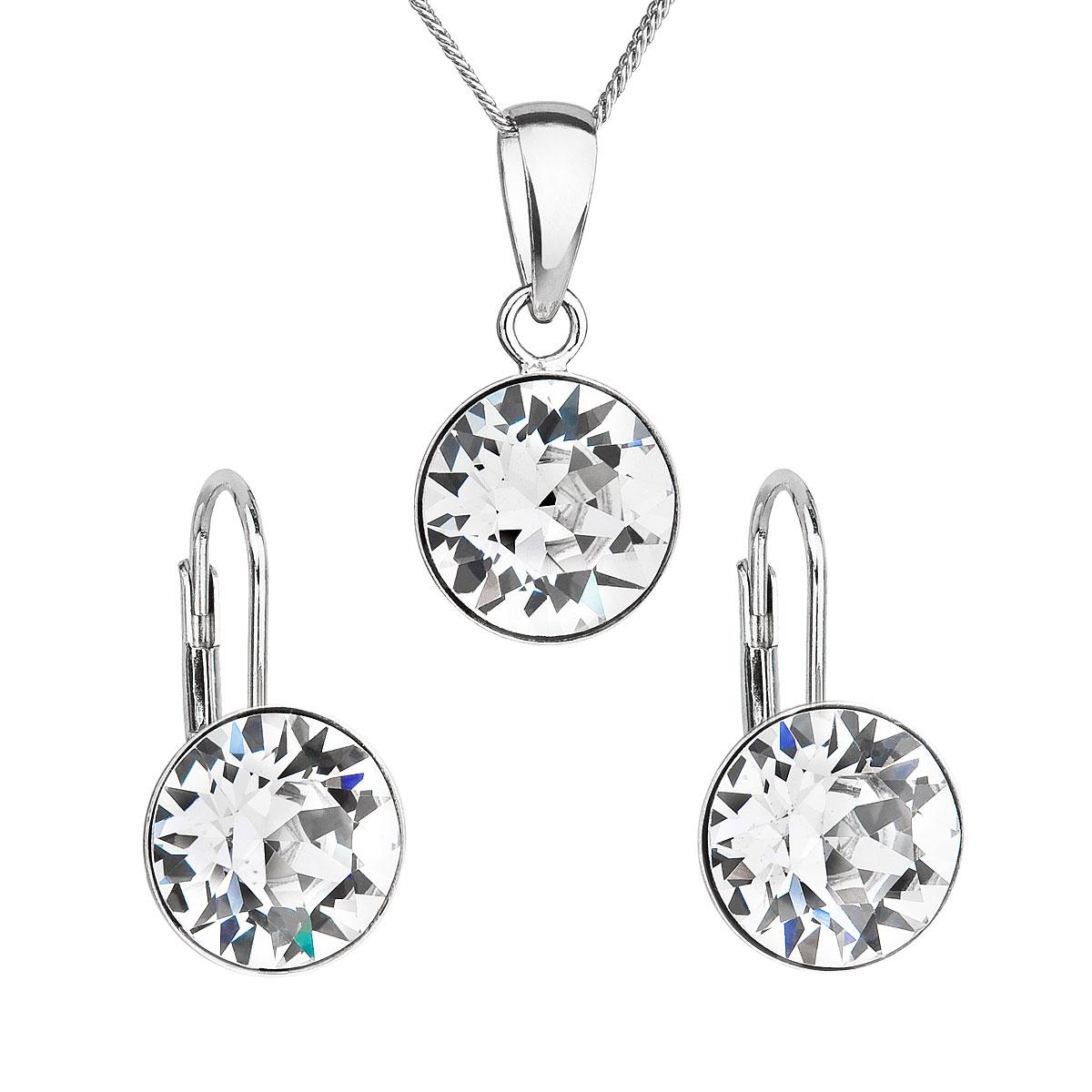 Sada šperkov s krištáľmi Swarovski náušnice a prívesok biele okrúhle 39140.1