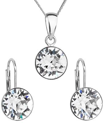 Sada šperkov s krištáľmi Swarovski náušnice a prívesok biele okrúhle 39140.1 794f9d72df5