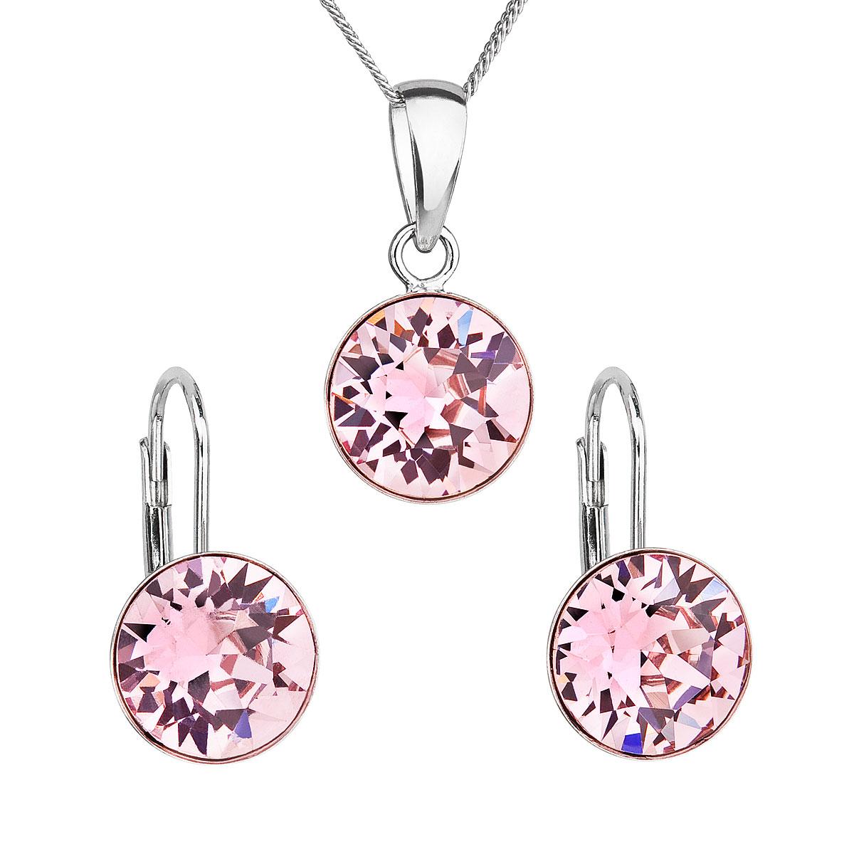 Sada šperkov s krištáľmi Swarovski náušnice, retiazka a prívesok ružové okrúhle 39140.3