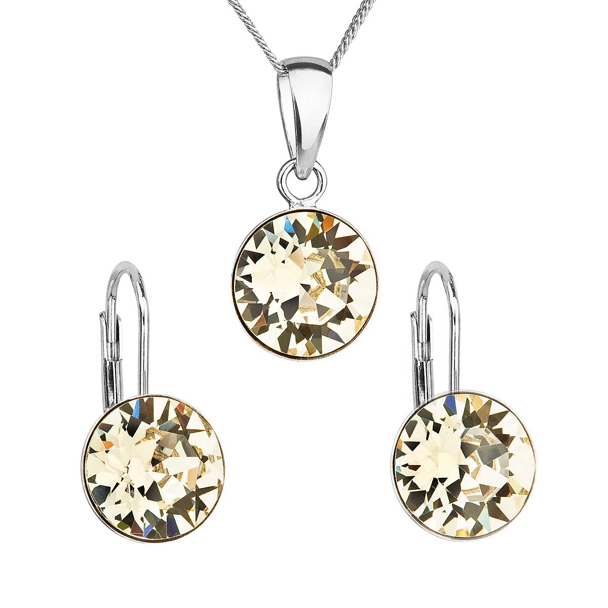 Sada šperkov s krištáľmi Swarovski náušnice, retiazka a prívesok žlté okrúhle 39140.3