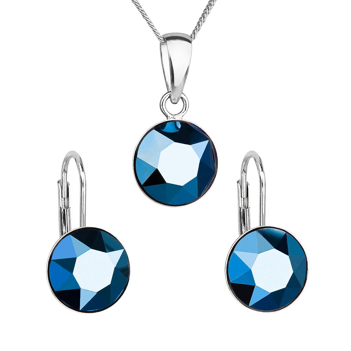 Sada šperkov s krištáľmi Swarovski náušnice, retiazka a prívesok modré okrúhle 39140.5