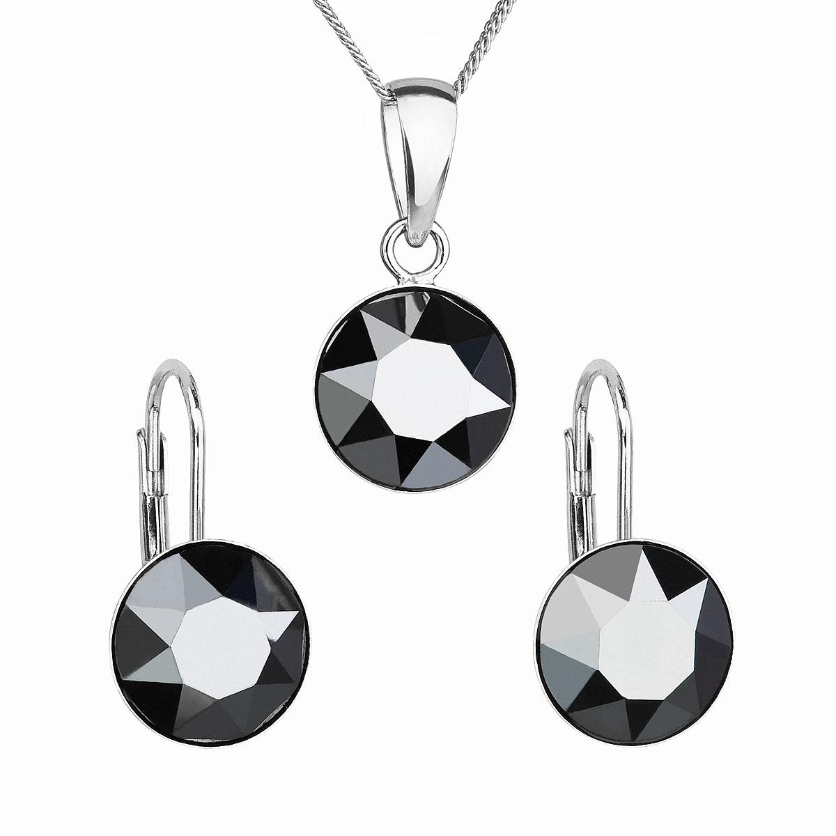 Sada šperkov s krištáľmi Swarovski náušnice, retiazka a prívesok čierne okrúhle 39140.5 hematite