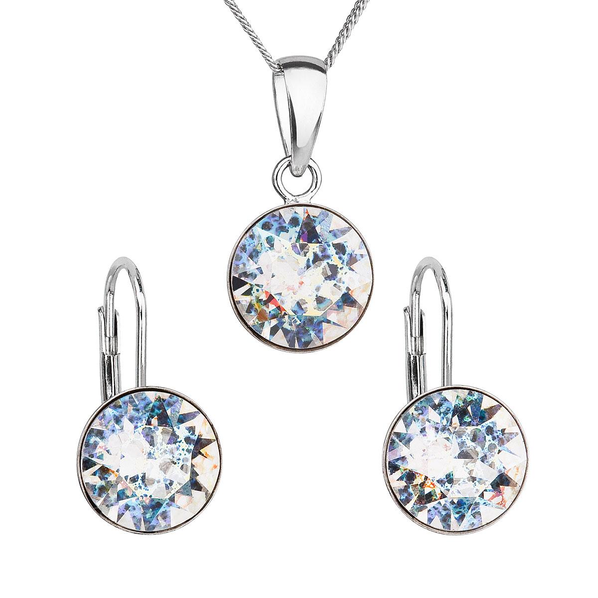Sada šperkov s krištáľmi Swarovski náušnice, retiazka a prívesok biele strieborné okrúhle39140.5