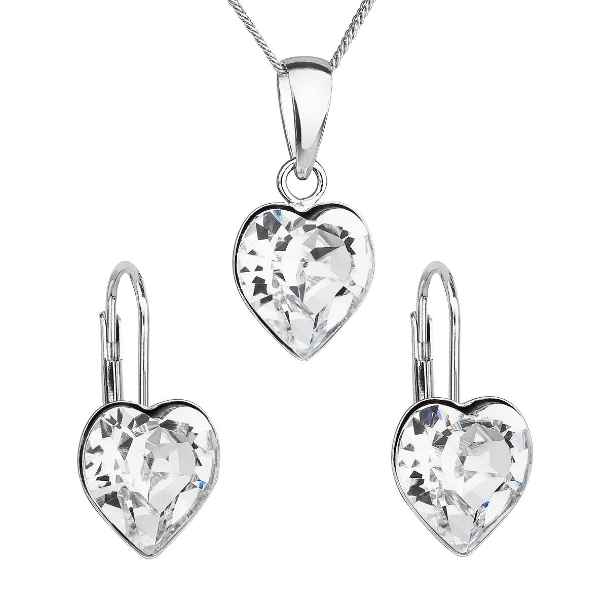 Sada šperkov s krištáľmi Swarovski náušnice, retiazka a prívesok biele srdce 39141.1