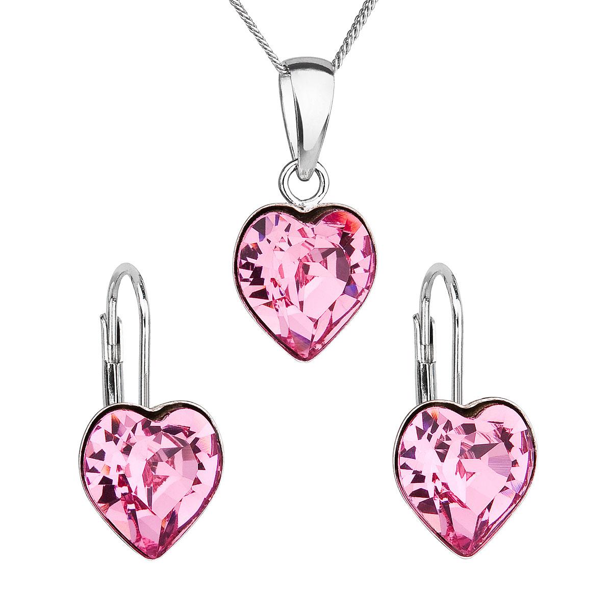 Sada šperkov s krištáľmi Swarovski náušnice, retiazka a prívesok ružové srdce 39141.3