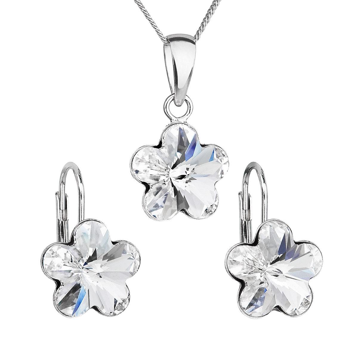 Sada šperkov s krištáľmi Swarovski náušnice, retiazka a prívesok biely kvietok 39143.1