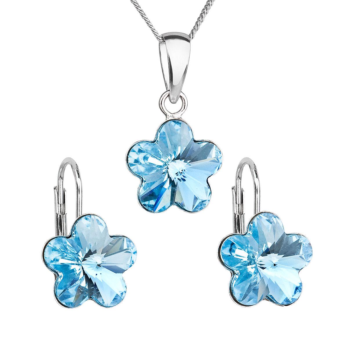 Sada šperkov s krištáľmi Swarovski náušnice, retiazka a prívesok modrý kvietok 39143.3