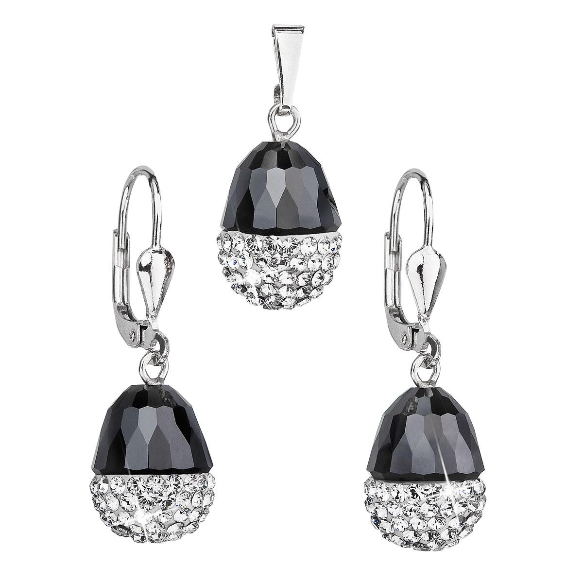 Sada šperkov s krištáľmi Swarovski náušnice a prívesok bielo-čierny ovál 39127.1