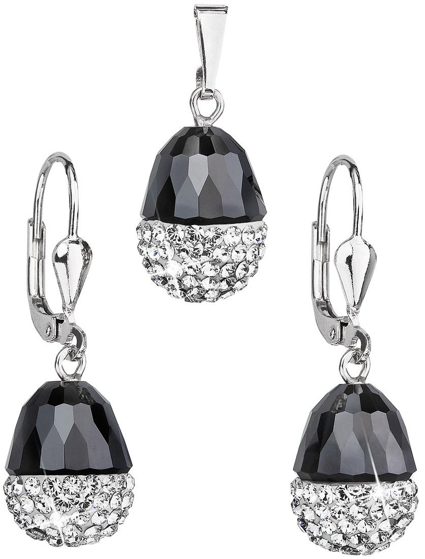 Sada šperkov s kryštálmi Swarovski náušnice a prívesok bielo-čierny ovál  39127.1 38daff8b179