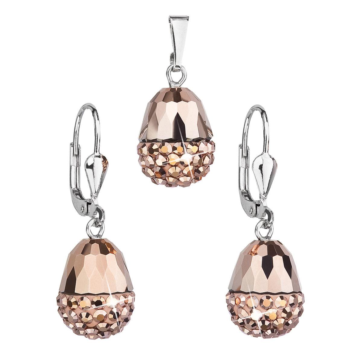 Sada šperkov s krištáľmi Swarovski náušnice a prívesok ružový ovál 39127.5