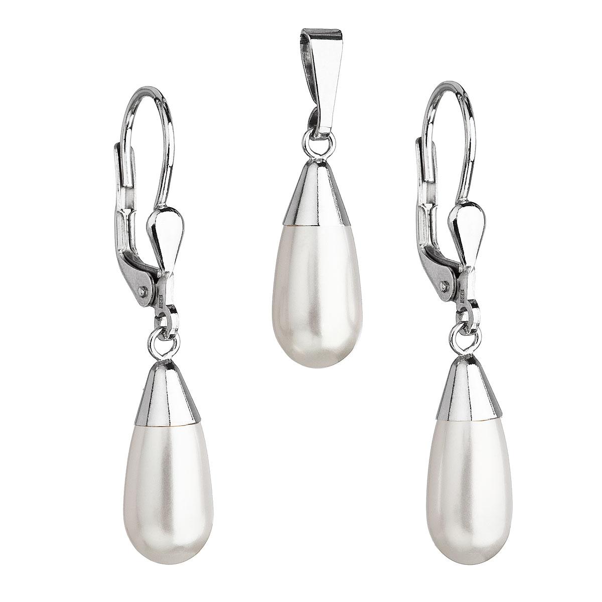 Sada šperkov s perlami Swarovski náušnice a prívesok biela perla slza 39119.1