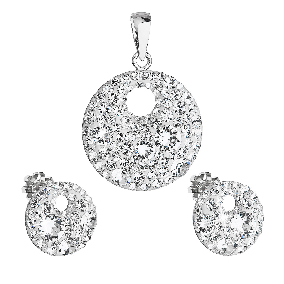 Sada šperkov s krištáľmi Swarovski náušnice a prívesok biele okrúhle 39148.1