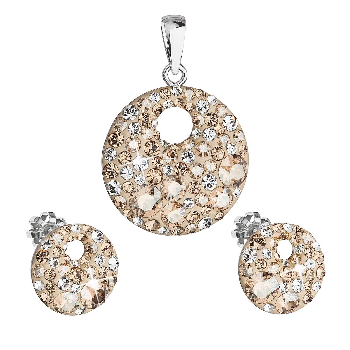Sada šperkov s krištáľmi Swarovski náušnice a prívesok zlaté okrúhle 39148.5